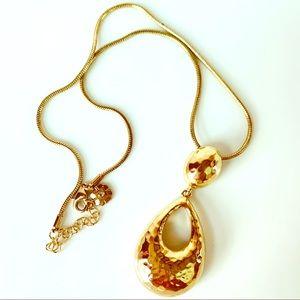 Gold Tone Pendant Monet Necklace